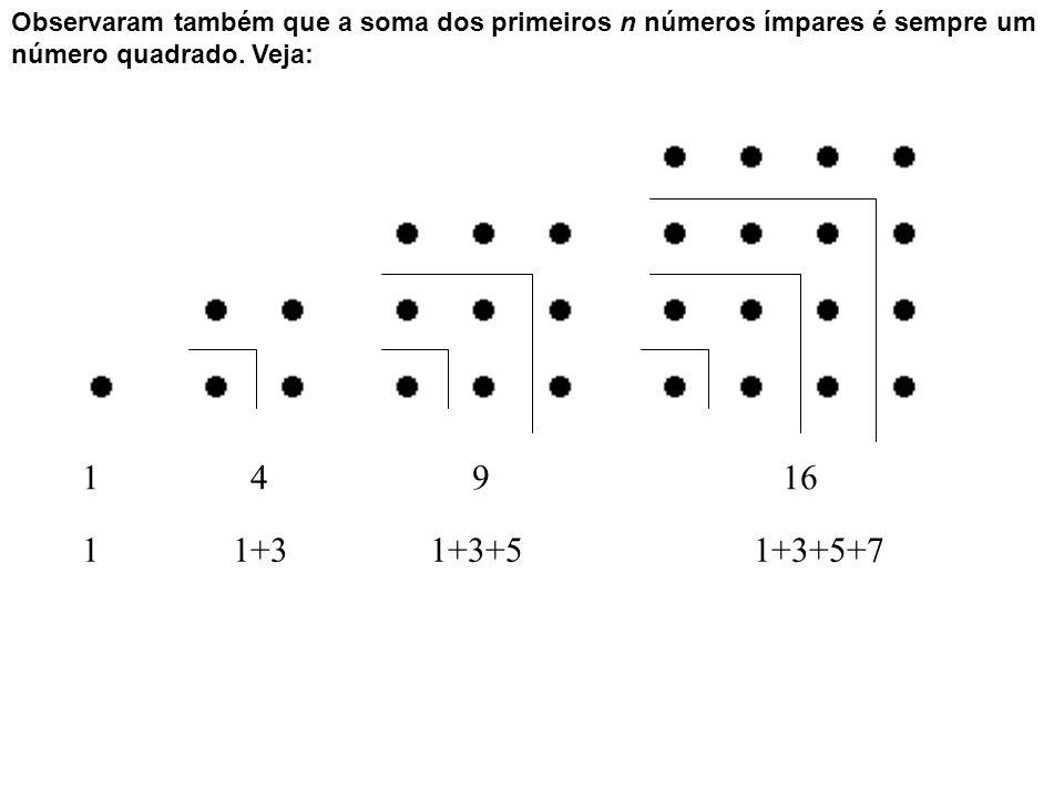 Observaram também que a soma dos primeiros n números ímpares é sempre um número quadrado. Veja: