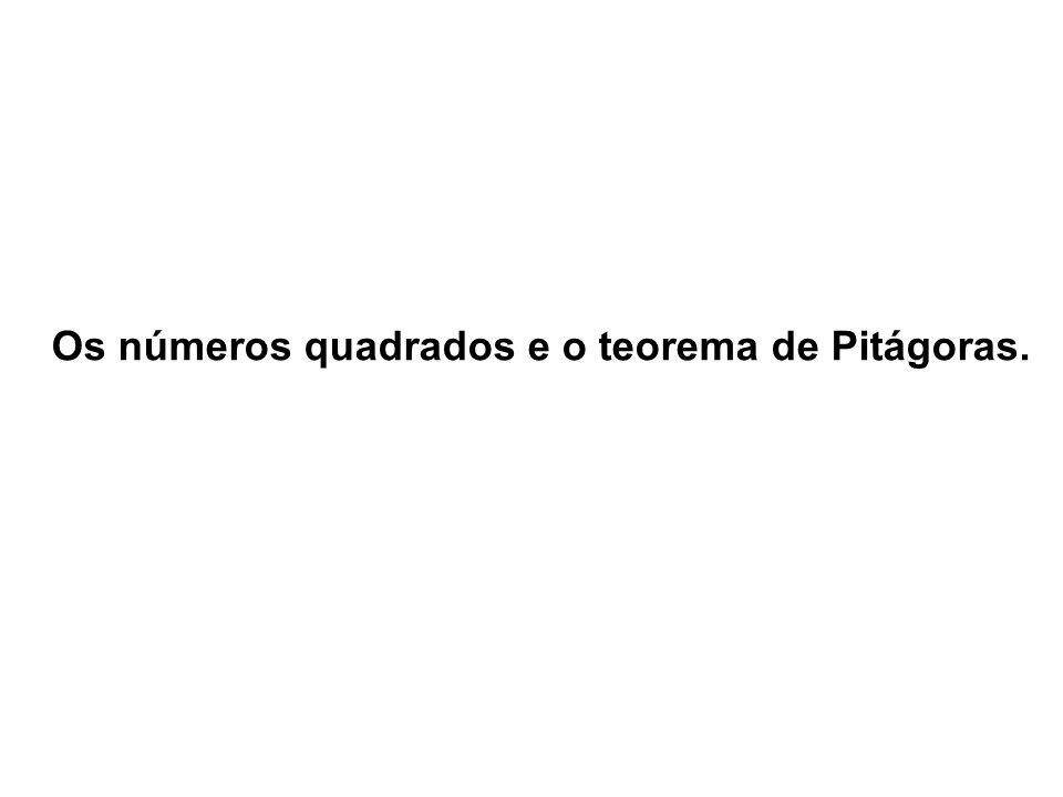 Os números quadrados e o teorema de Pitágoras.