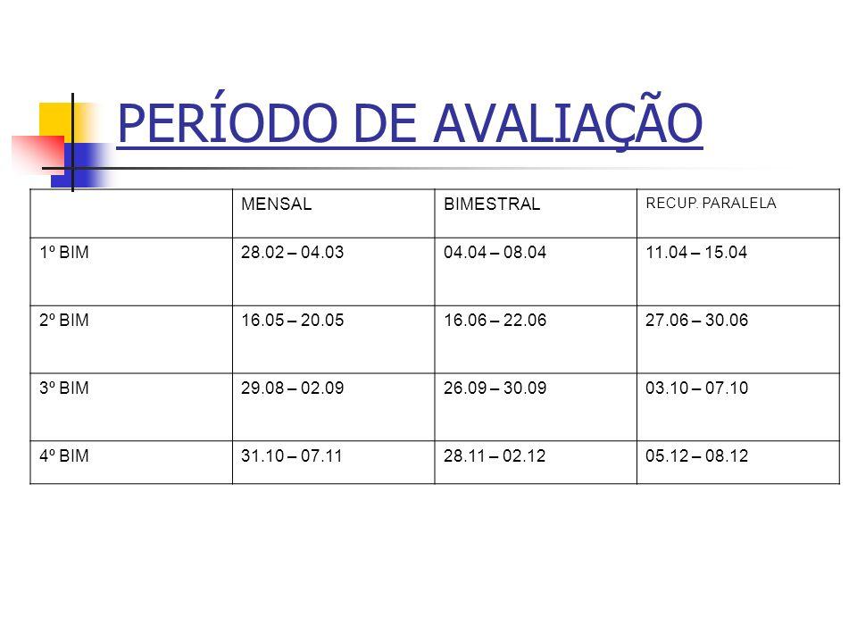 PERÍODO DE AVALIAÇÃO MENSAL BIMESTRAL 1º BIM 28.02 – 04.03