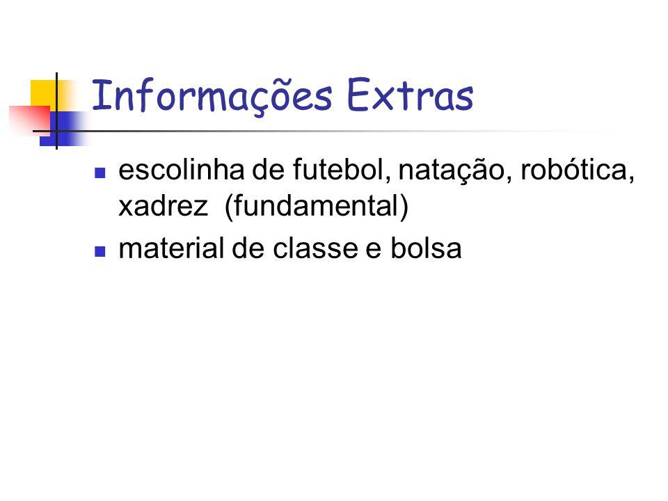 Informações Extras escolinha de futebol, natação, robótica, xadrez (fundamental) material de classe e bolsa.