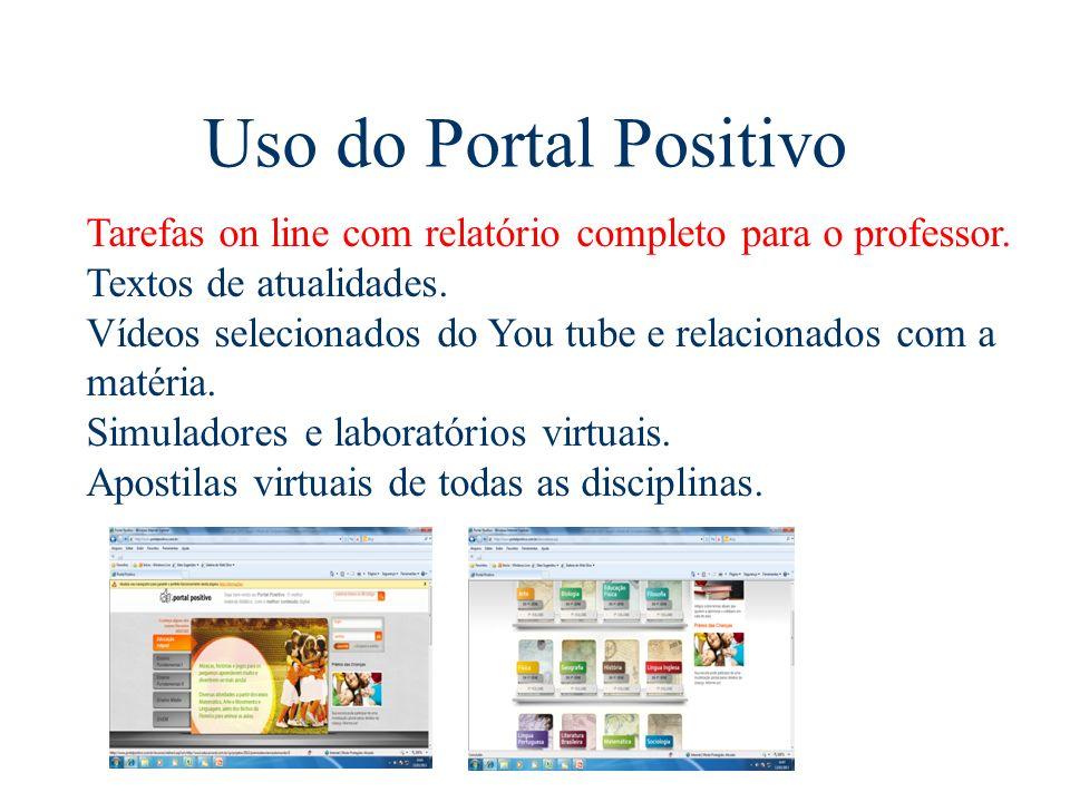 Uso do Portal Positivo Tarefas on line com relatório completo para o professor. Textos de atualidades.