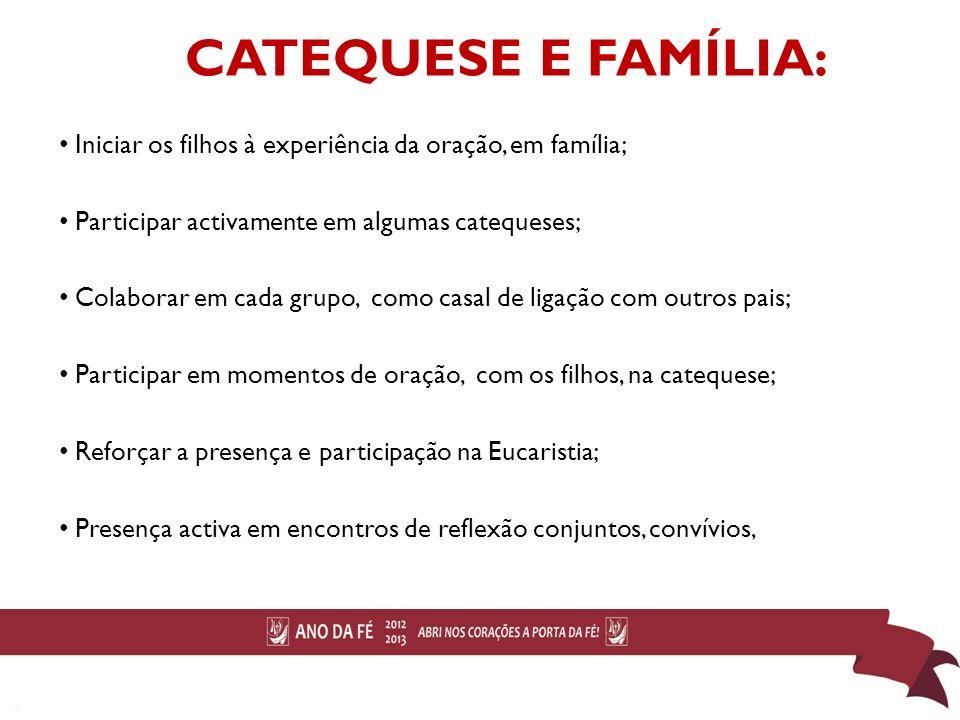 CATEQUESE E FAMÍLIA: Iniciar os filhos à experiência da oração, em família; Participar activamente em algumas catequeses;