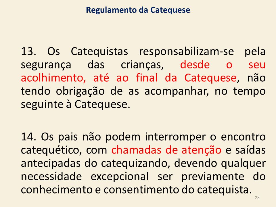 Regulamento da Catequese