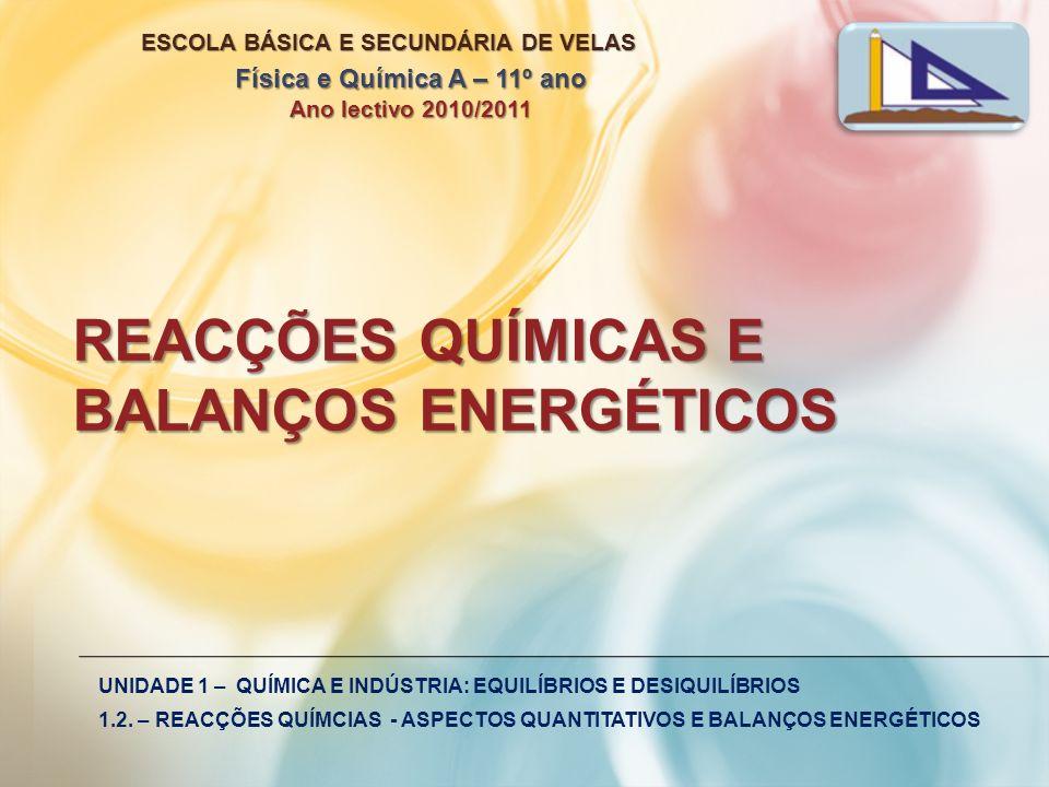 REACÇÕES QUÍMICAS E BALANÇOS ENERGÉTICOS