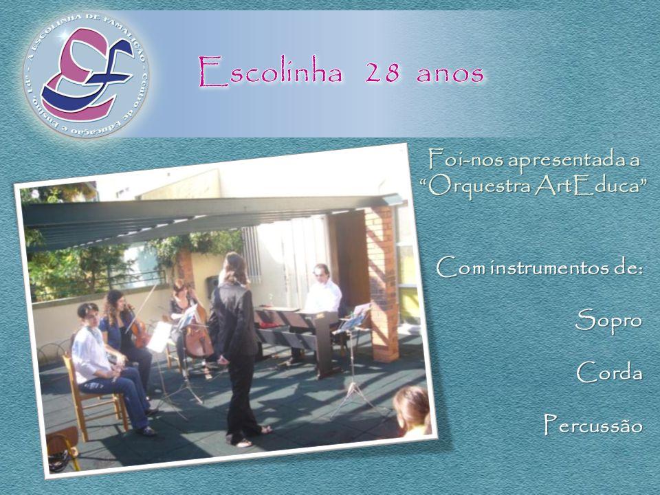 Escolinha 28 anos Foi-nos apresentada a Orquestra ArtEduca