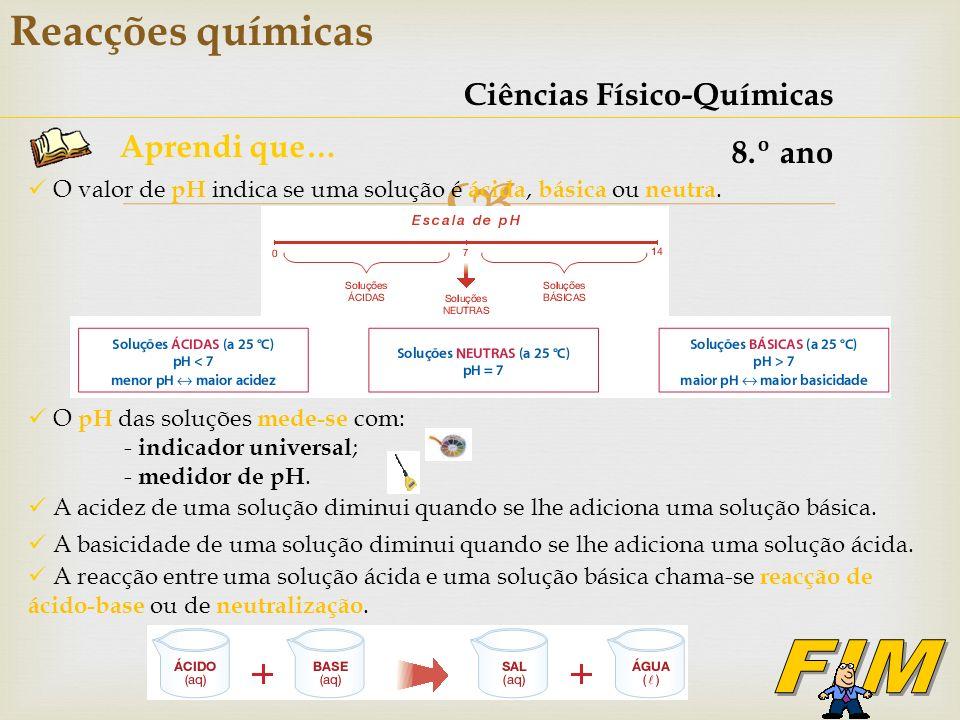 FIM Reacções químicas Ciências Físico-Químicas 8.º ano Aprendi que…