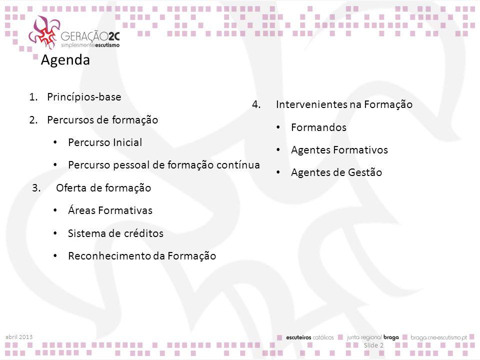 Agenda Princípios-base Intervenientes na Formação
