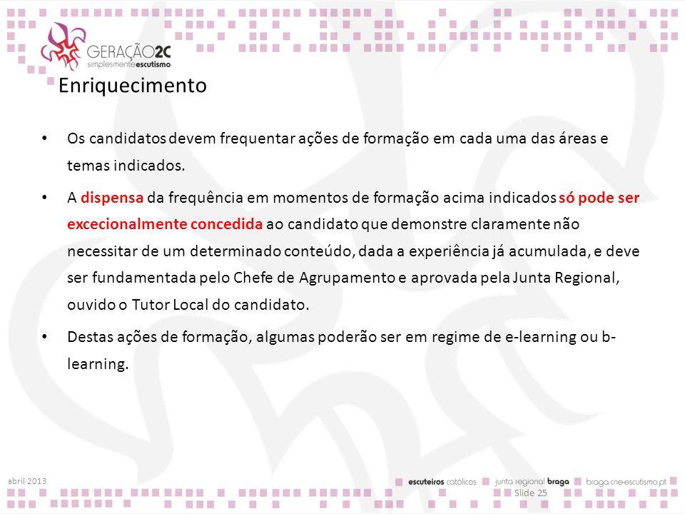 Enriquecimento Os candidatos devem frequentar ações de formação em cada uma das áreas e temas indicados.