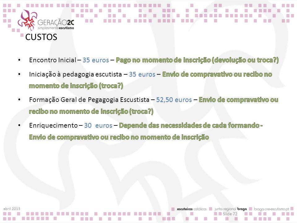 CUSTOS Encontro Inicial – 35 euros – Pago no momento de inscrição (devolução ou troca )