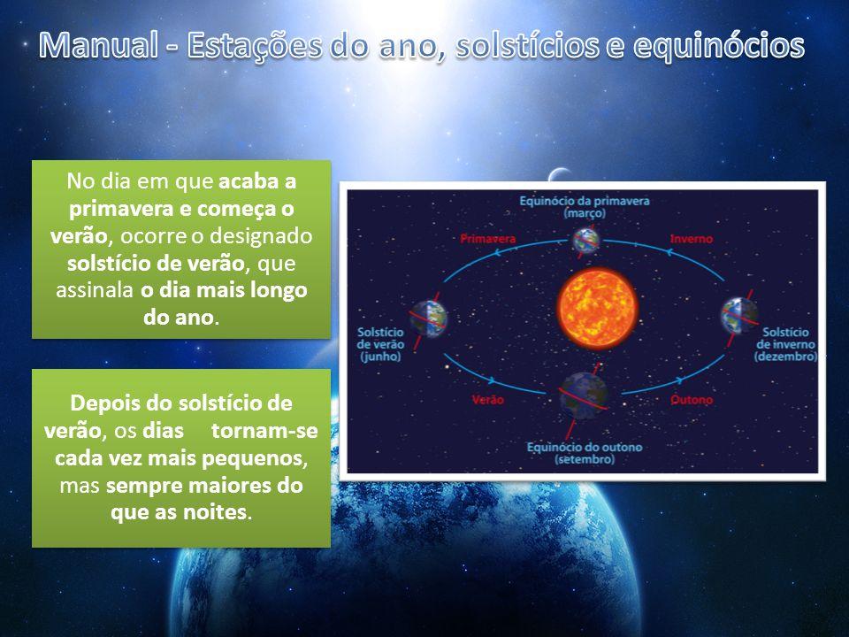 Manual - Estações do ano, solstícios e equinócios