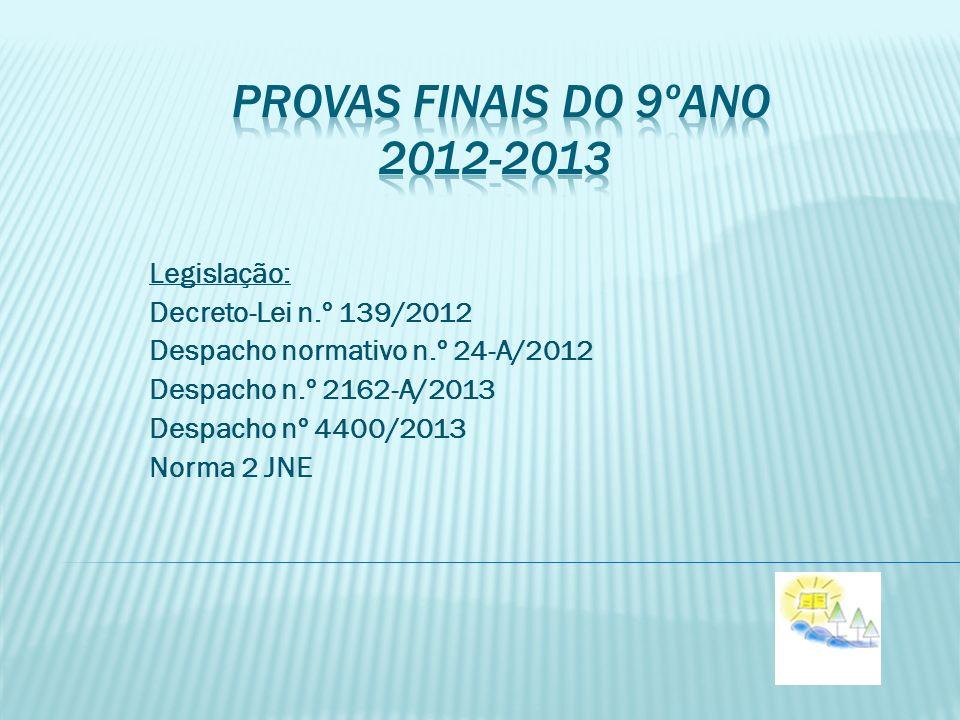 provas finais do 9ºano 2012-2013 Legislação: Decreto-Lei n.º 139/2012