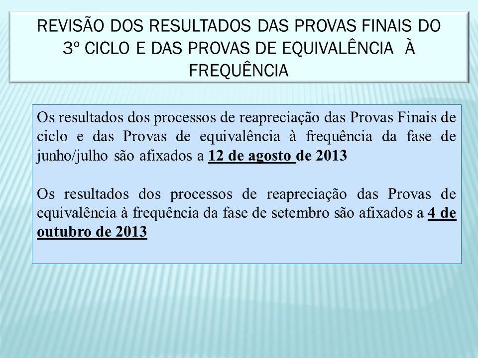 REVISÃO DOS RESULTADOS DAS PROVAS FINAIS DO