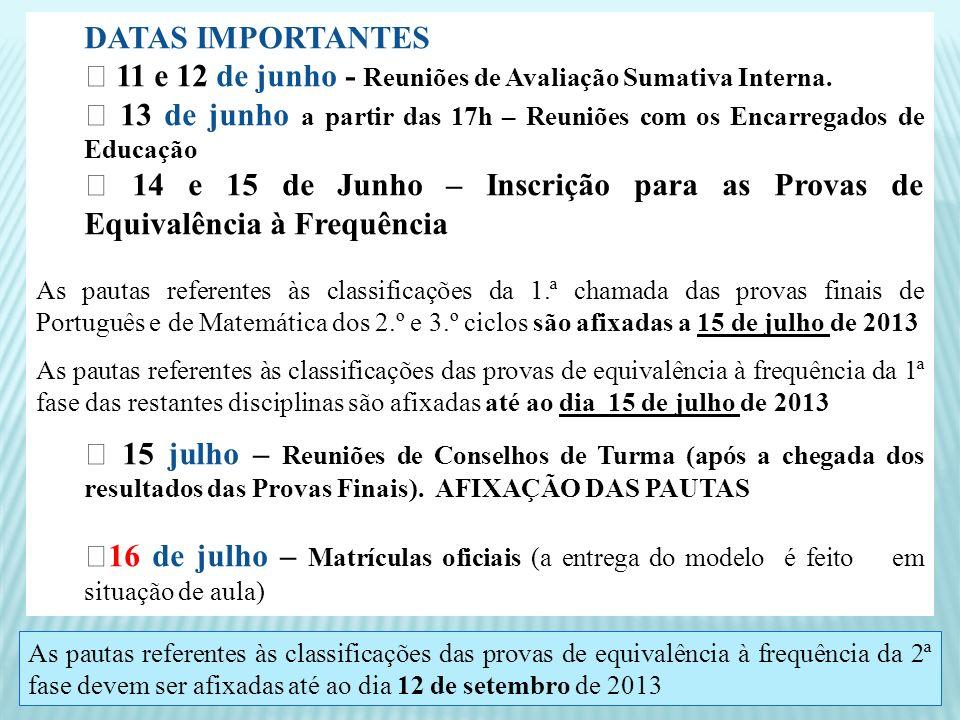 ☞ 11 e 12 de junho - Reuniões de Avaliação Sumativa Interna.