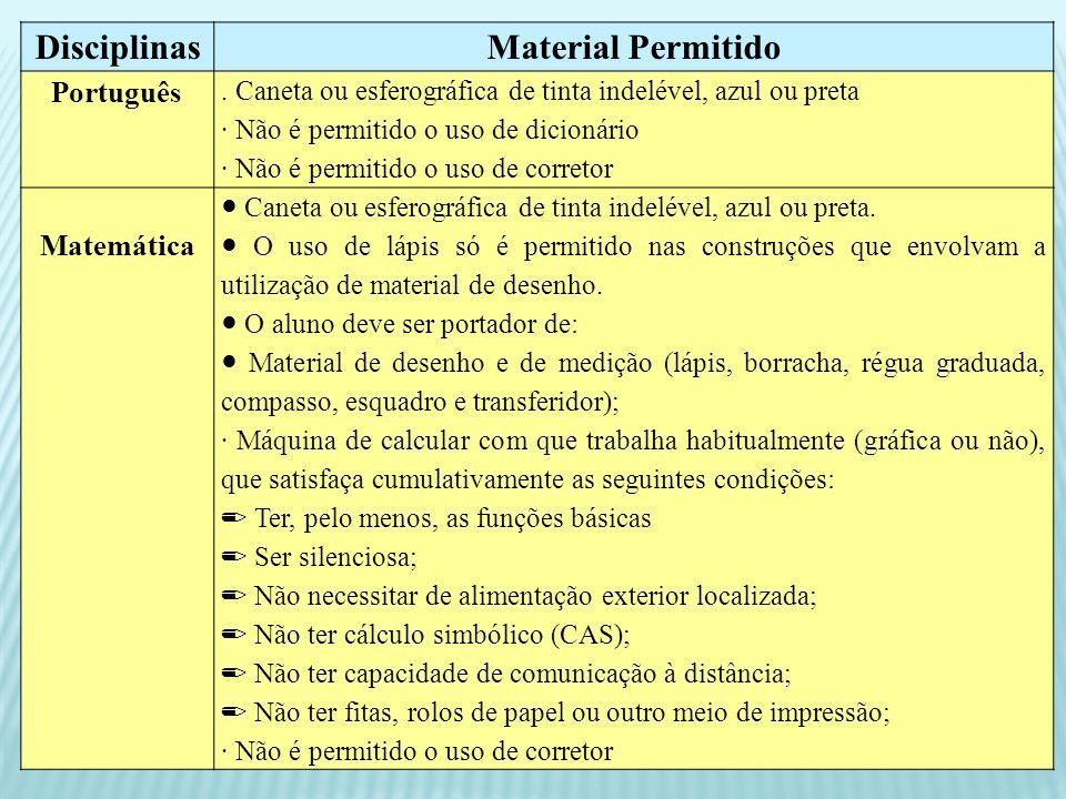 Disciplinas Material Permitido