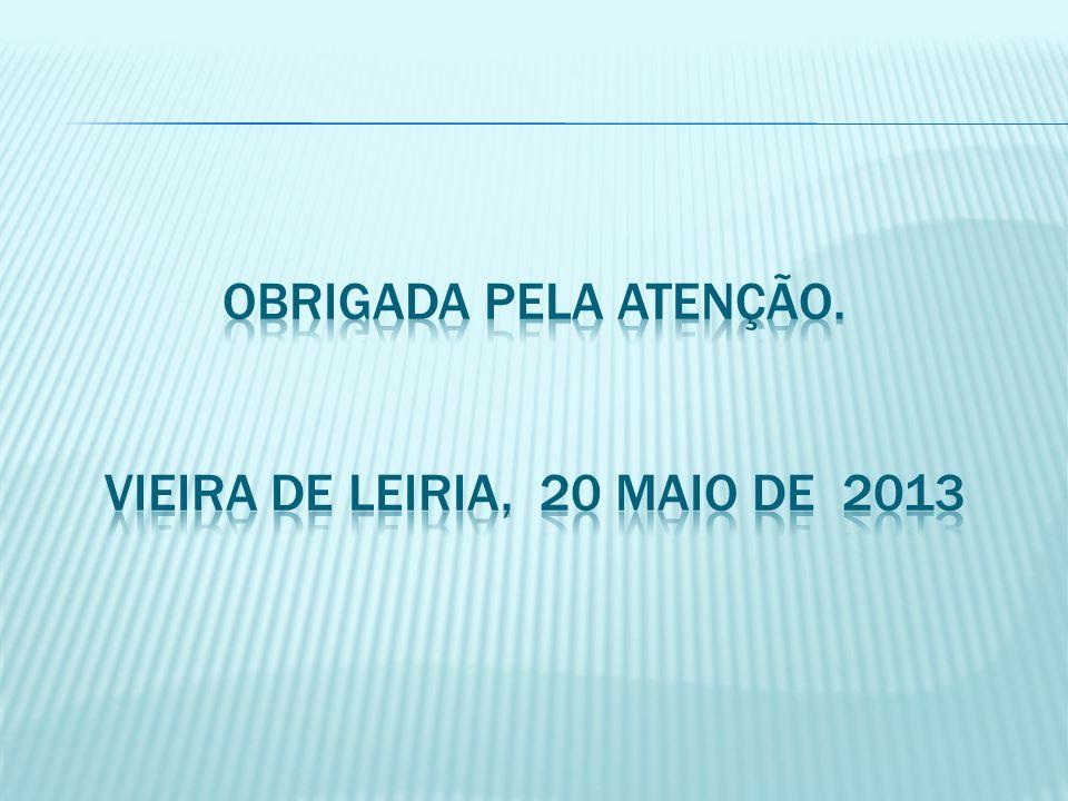 OBRIGADA PELA ATENÇÃO. Vieira de Leiria, 20 Maio de 2013