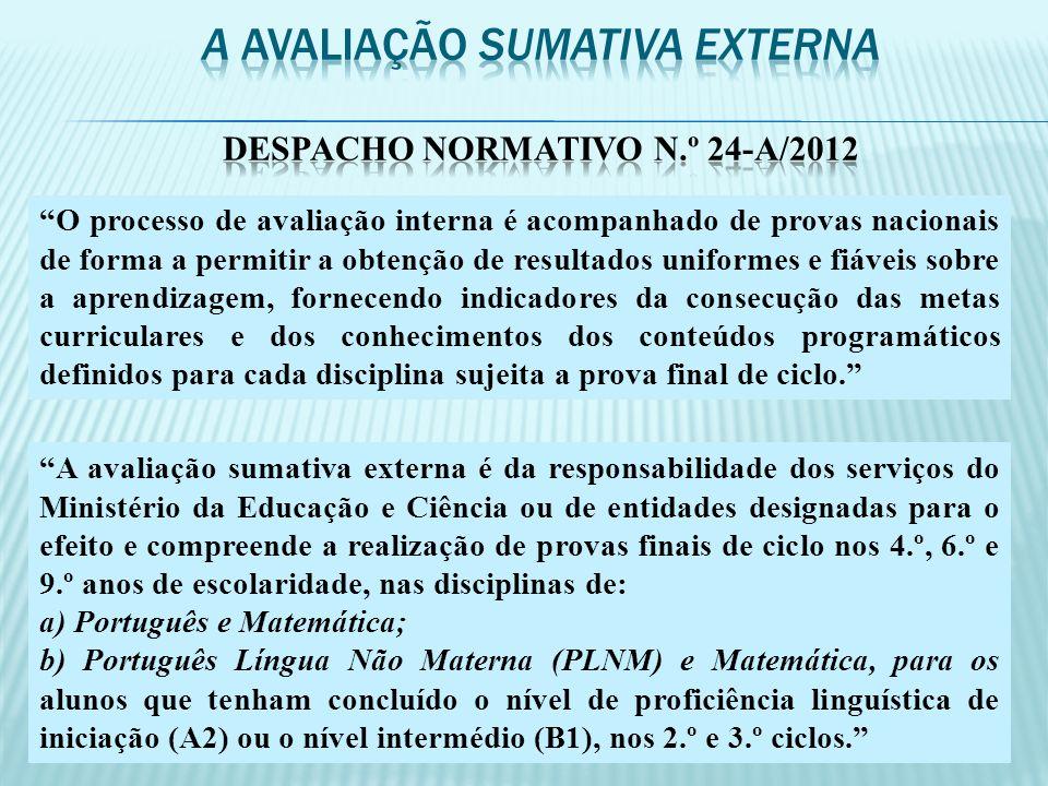 A avaliação sumativa externa Despacho normativo n.º 24-A/2012