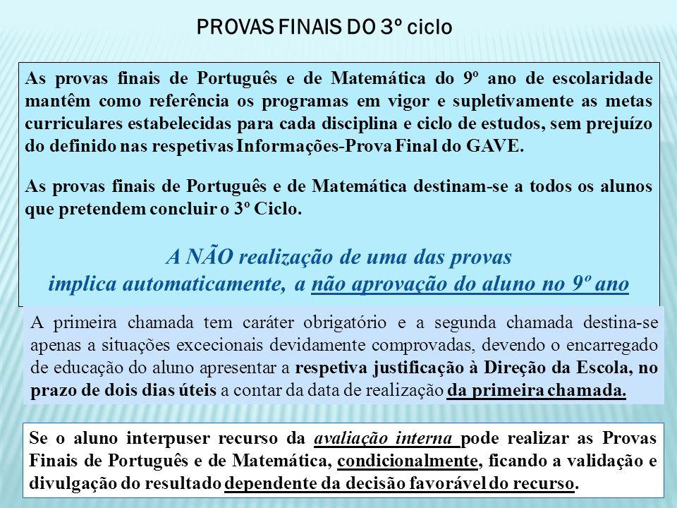 PROVAS FINAIS DO 3º ciclo