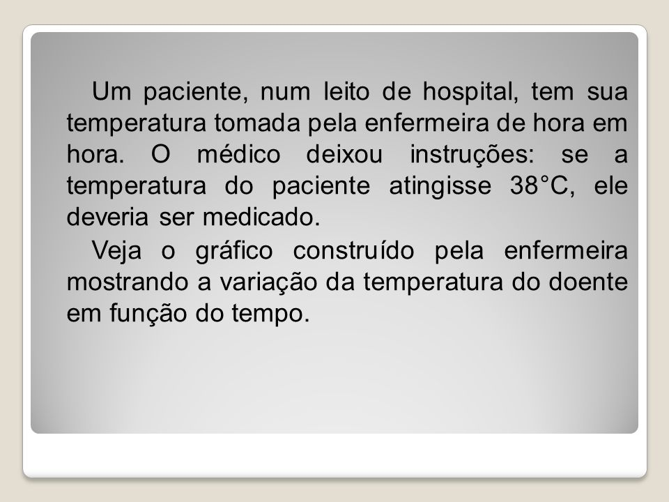 Um paciente, num leito de hospital, tem sua temperatura tomada pela enfermeira de hora em hora.