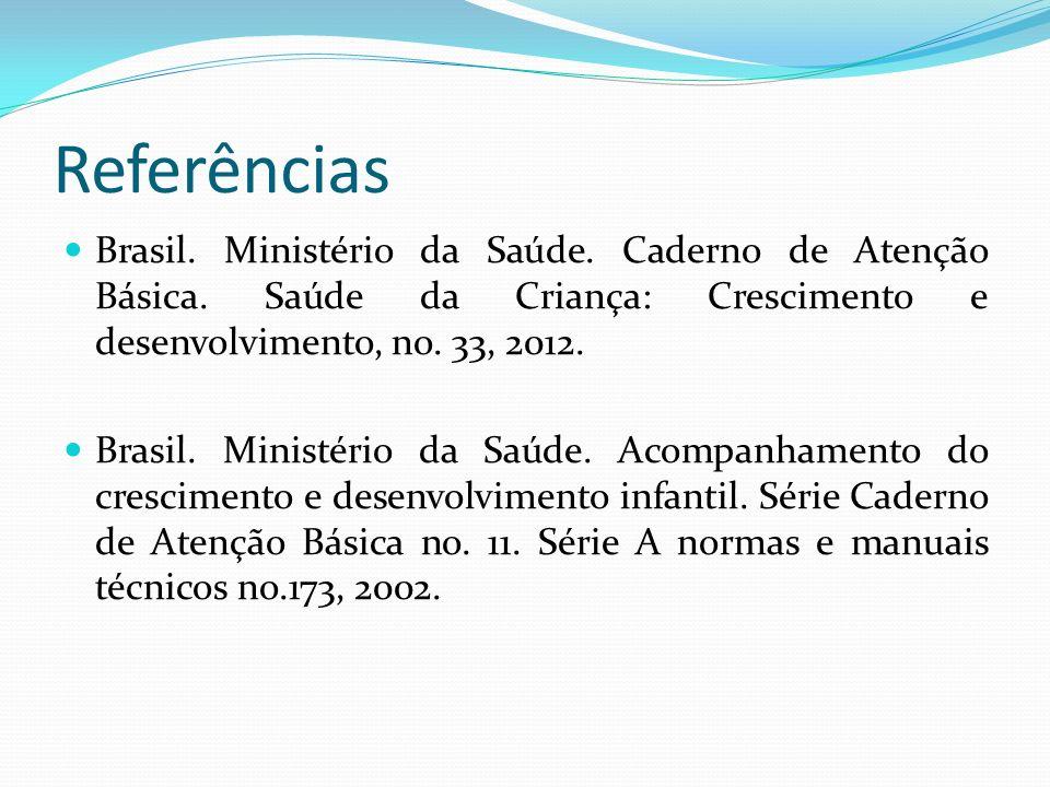 Referências Brasil. Ministério da Saúde. Caderno de Atenção Básica. Saúde da Criança: Crescimento e desenvolvimento, no. 33, 2012.