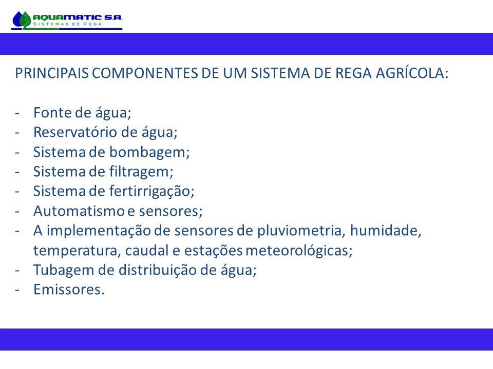 PRINCIPAIS COMPONENTES DE UM SISTEMA DE REGA AGRÍCOLA: