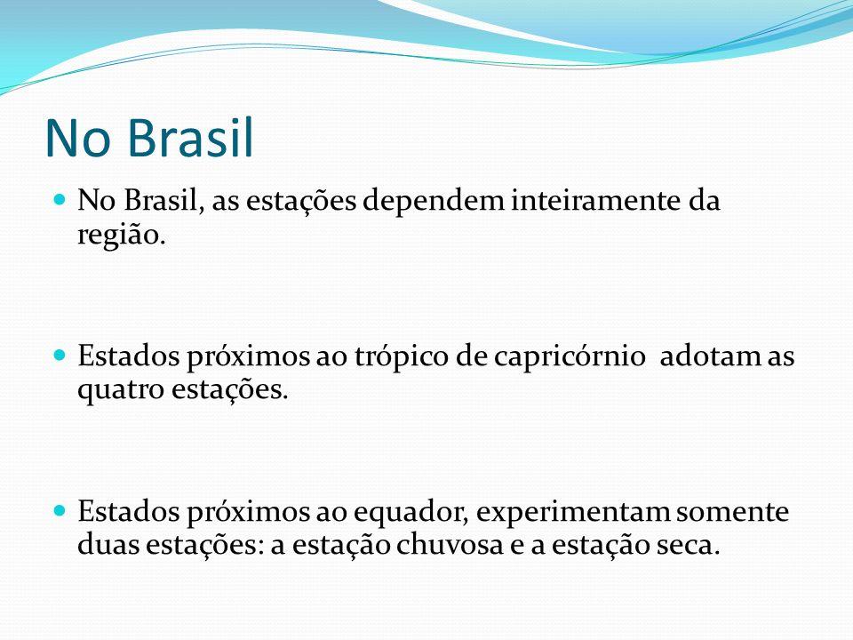 No Brasil No Brasil, as estações dependem inteiramente da região.