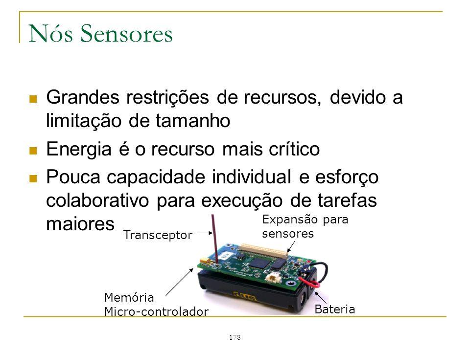Nós Sensores Grandes restrições de recursos, devido a limitação de tamanho. Energia é o recurso mais crítico.