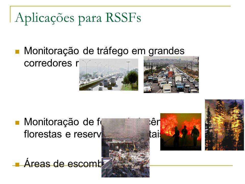 Aplicações para RSSFs Monitoração de tráfego em grandes corredores rodoviários. Monitoração de focos de incêndio em florestas e reservas ambientais.