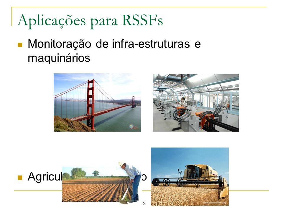 Aplicações para RSSFs Monitoração de infra-estruturas e maquinários