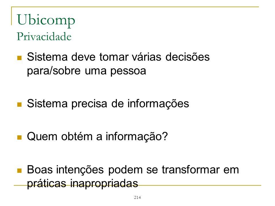 Ubicomp Privacidade Sistema deve tomar várias decisões para/sobre uma pessoa. Sistema precisa de informações.