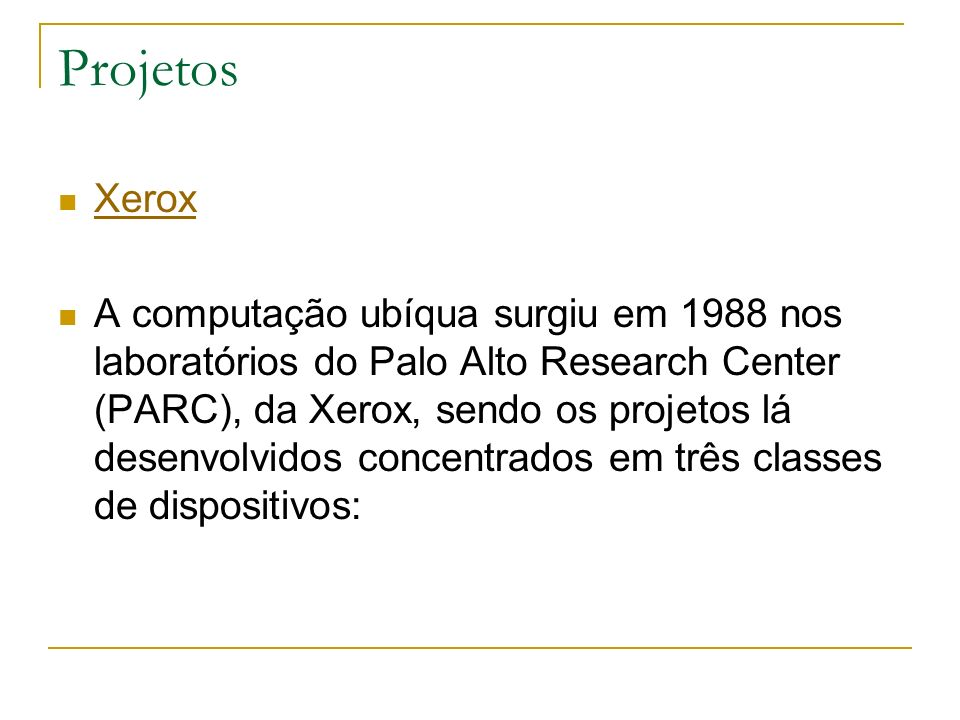 Projetos Xerox.
