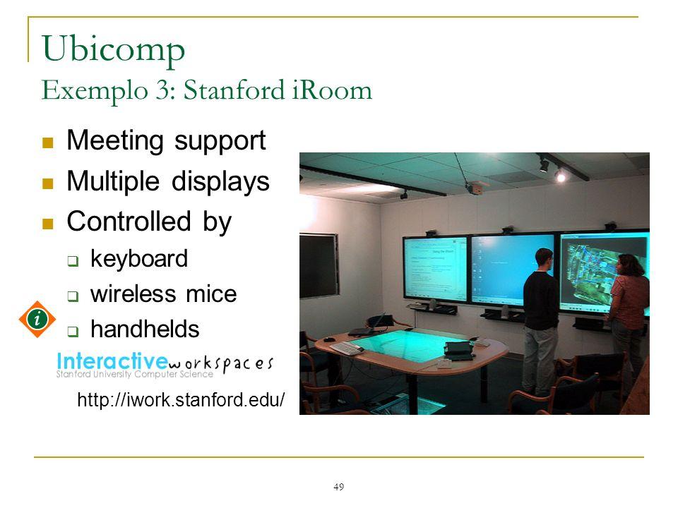 Ubicomp Exemplo 3: Stanford iRoom