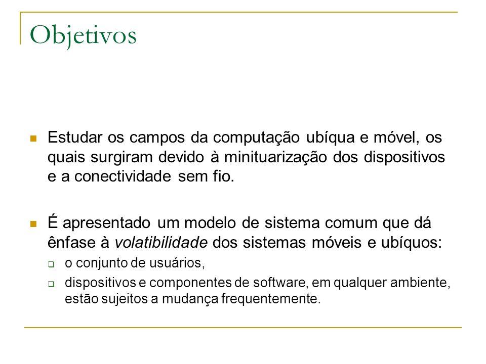 Objetivos Estudar os campos da computação ubíqua e móvel, os quais surgiram devido à minituarização dos dispositivos e a conectividade sem fio.