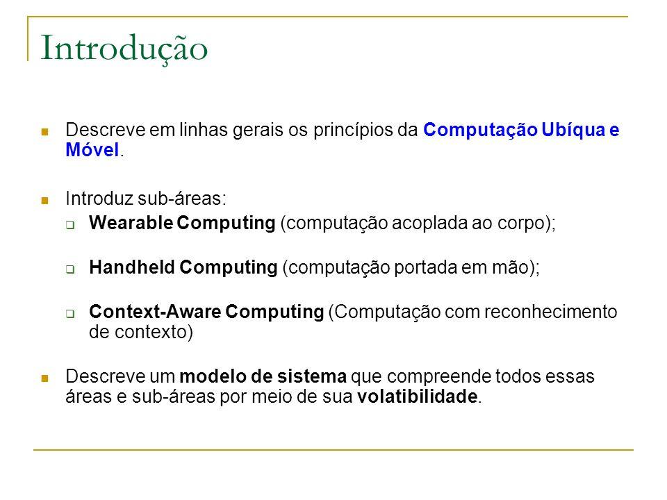Introdução Descreve em linhas gerais os princípios da Computação Ubíqua e Móvel. Introduz sub-áreas: