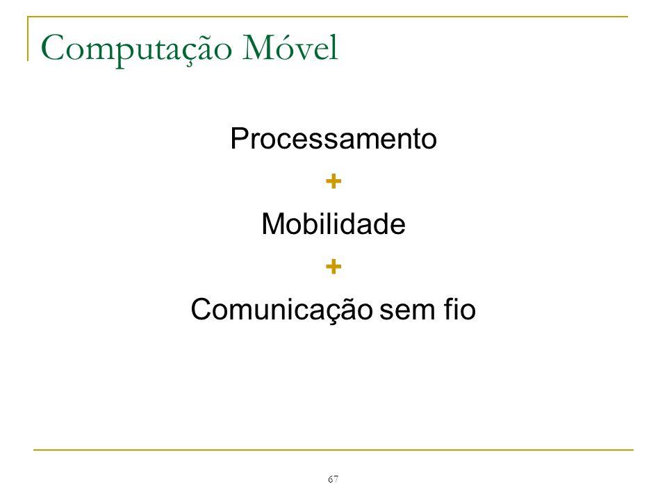 Computação Móvel Processamento + Mobilidade Comunicação sem fio