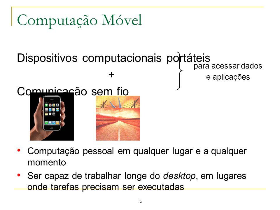 Computação Móvel Dispositivos computacionais portáteis +