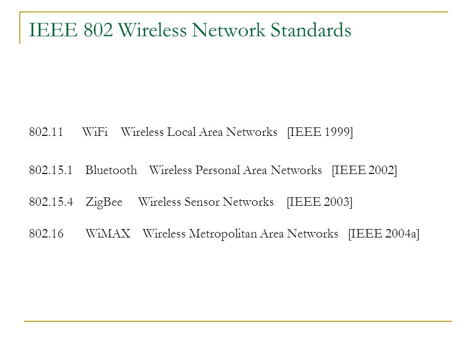 IEEE 802 Wireless Network Standards