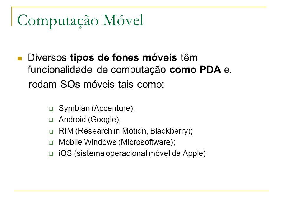 Computação Móvel Diversos tipos de fones móveis têm funcionalidade de computação como PDA e, rodam SOs móveis tais como: