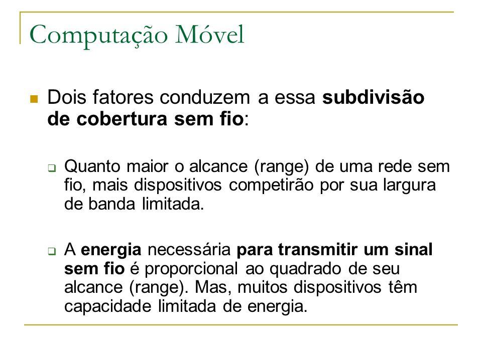Computação Móvel Dois fatores conduzem a essa subdivisão de cobertura sem fio: