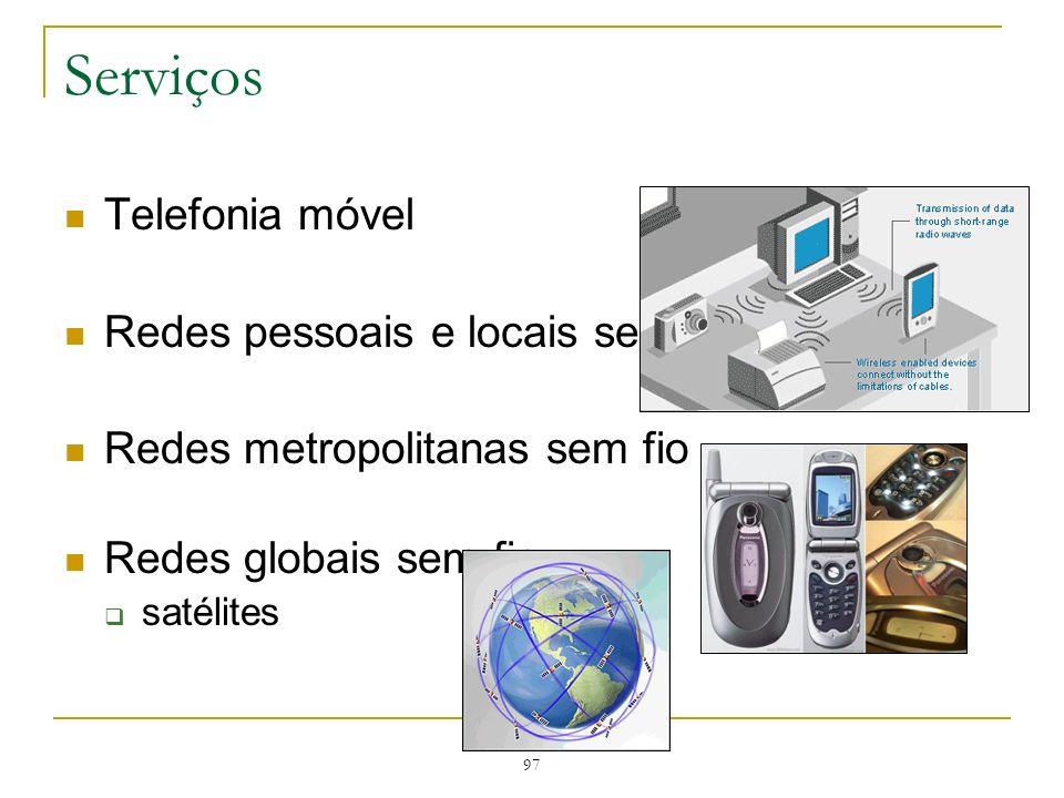 Serviços Telefonia móvel Redes pessoais e locais sem fio