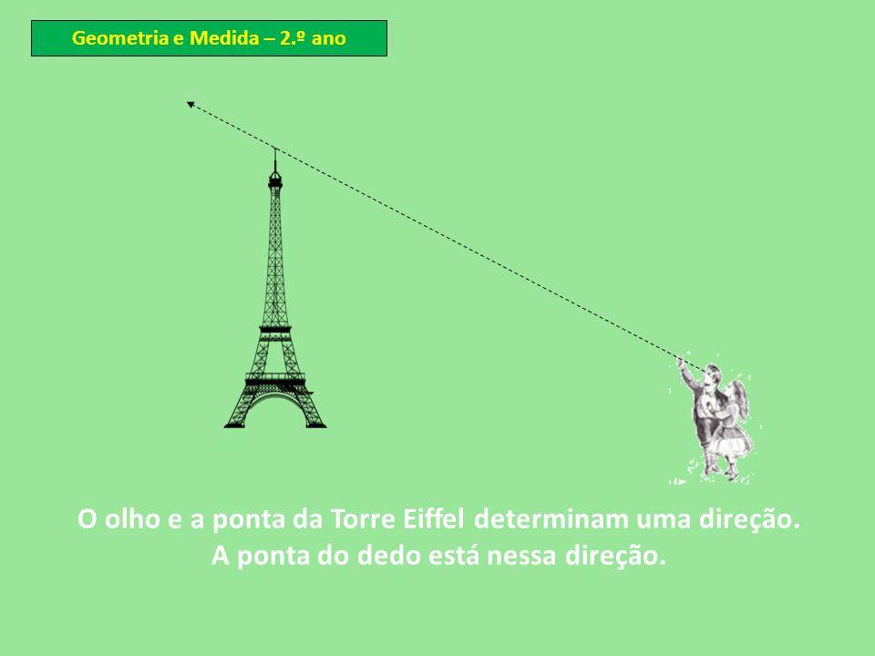 O olho e a ponta da Torre Eiffel determinam uma direção.