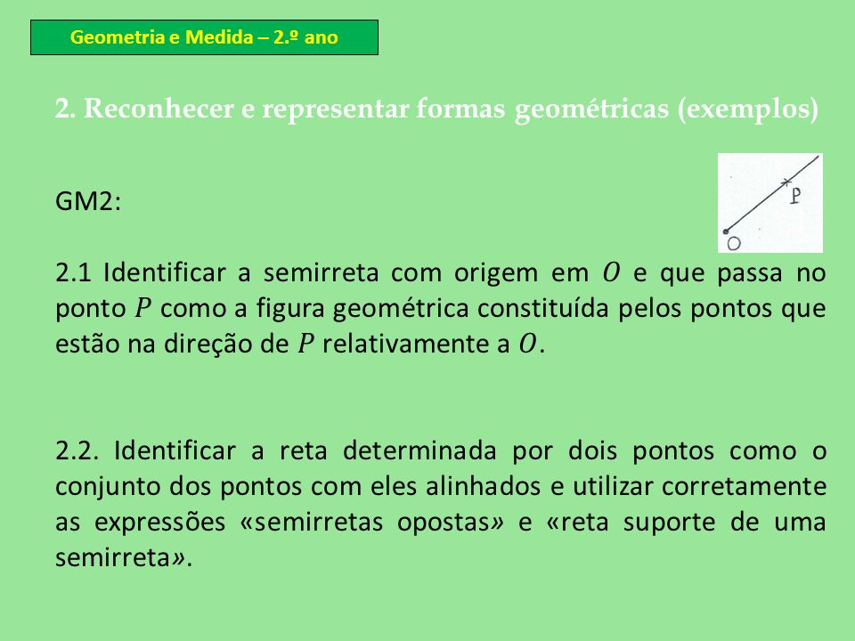 Geometria e Medida – 2.º ano
