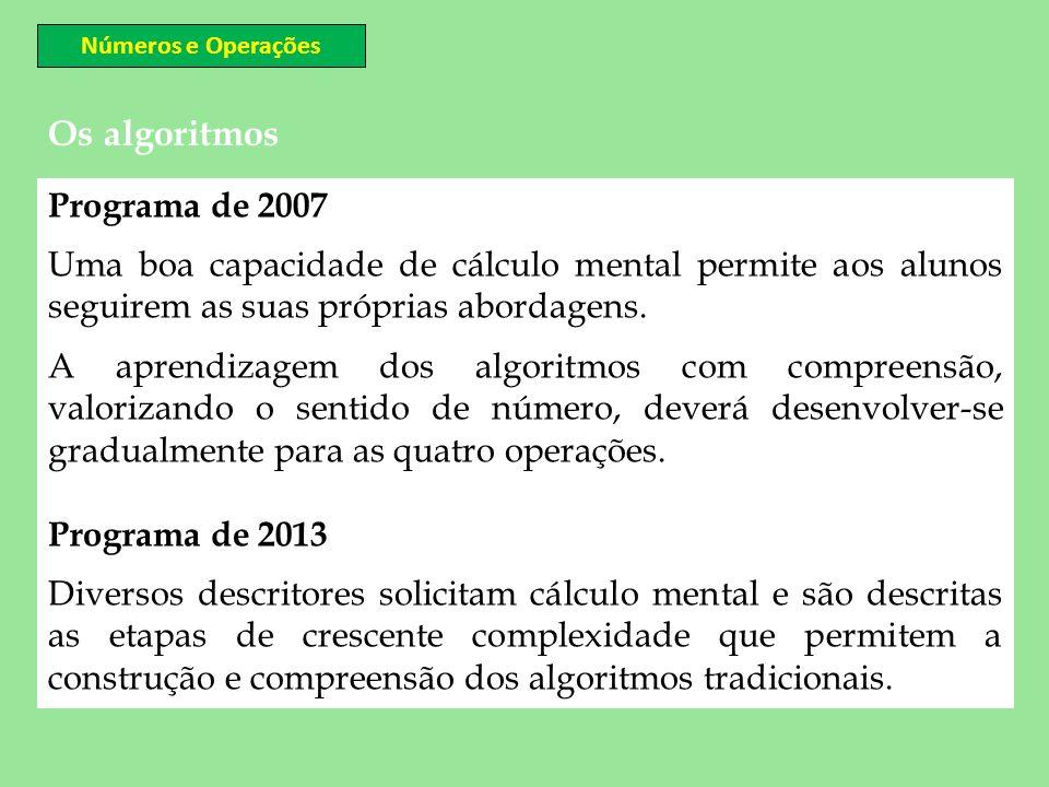 Os algoritmos Programa de 2007