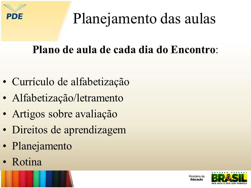 Planejamento das aulas