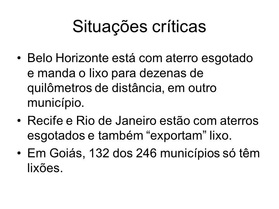 Situações críticas Belo Horizonte está com aterro esgotado e manda o lixo para dezenas de quilômetros de distância, em outro município.