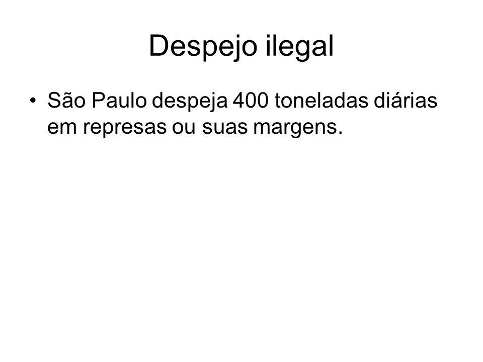 Despejo ilegal São Paulo despeja 400 toneladas diárias em represas ou suas margens.