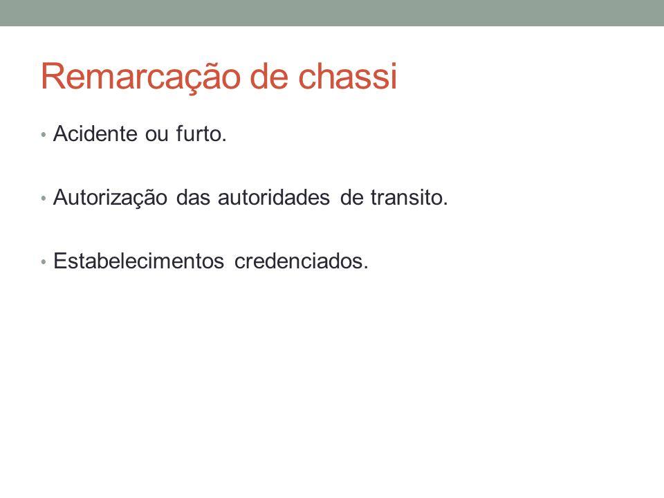 Remarcação de chassi Acidente ou furto.