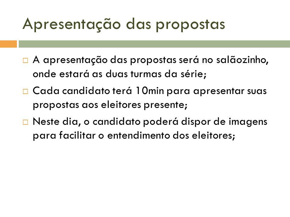 Apresentação das propostas