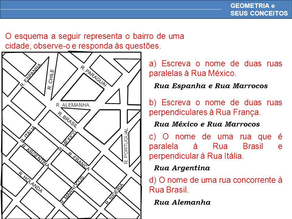 a) Escreva o nome de duas ruas paralelas à Rua México.