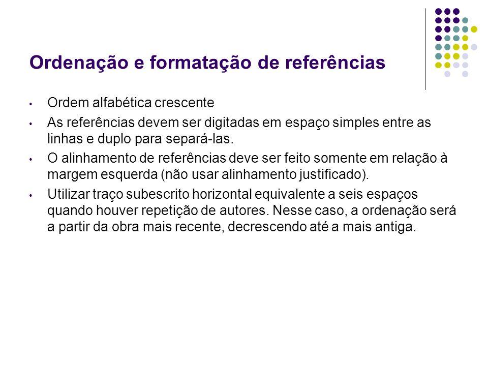 Ordenação e formatação de referências
