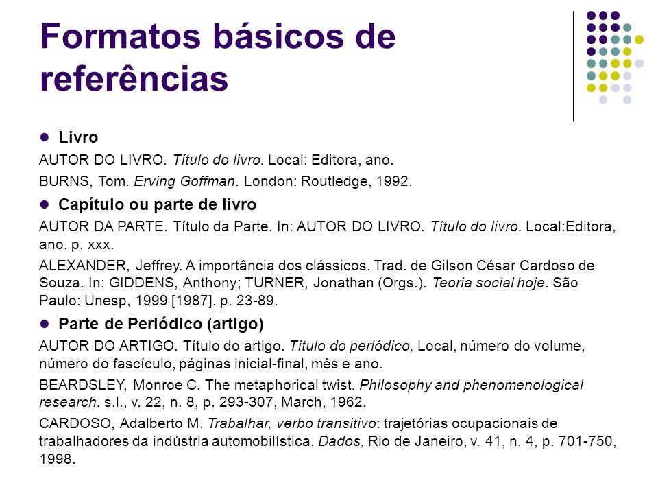 Formatos básicos de referências